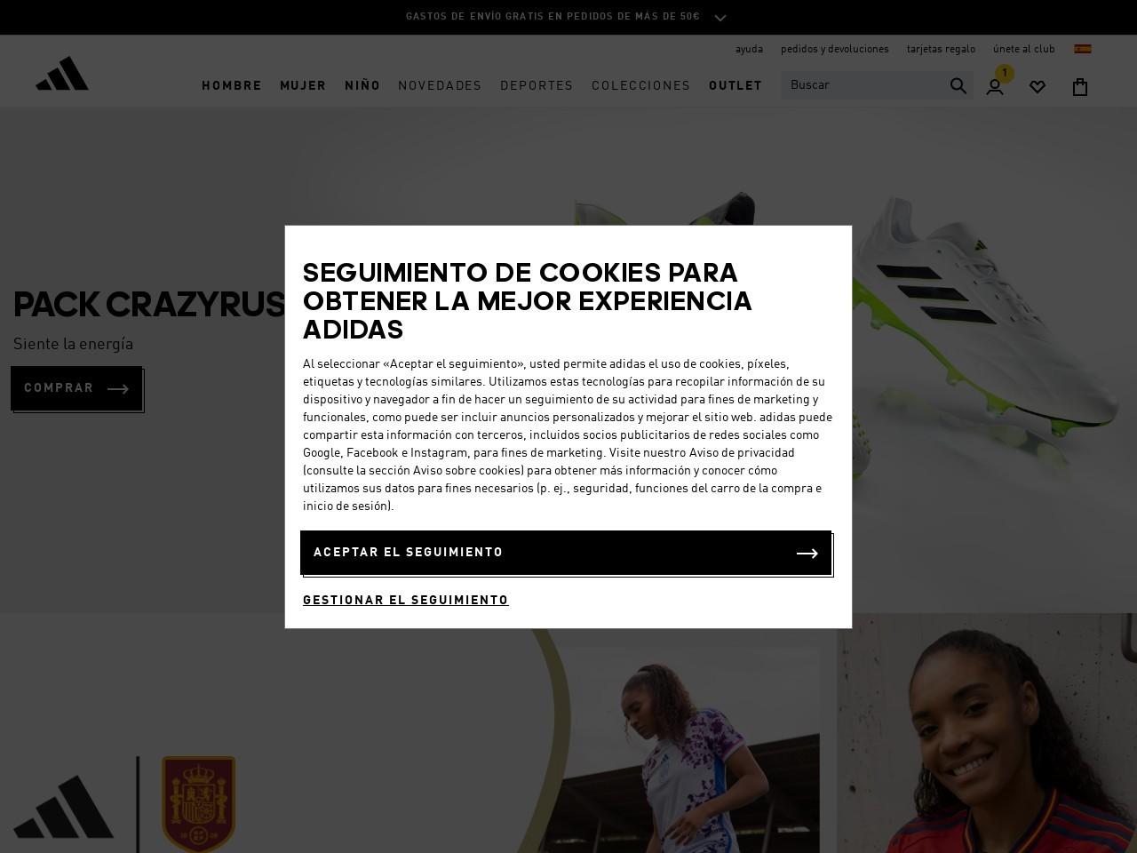 Captura de pantalla de www.adidas.es