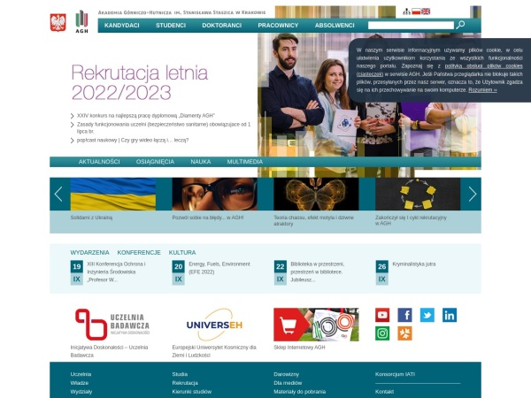 Screenshot of www.agh.edu.pl