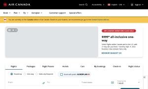 Air Canada ウェブサイトサムネイル