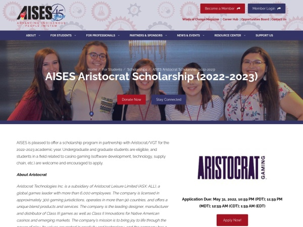 Screenshot of www.aises.org