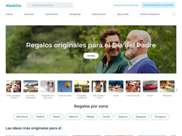 Captura de pantalla de www.aladinia.com