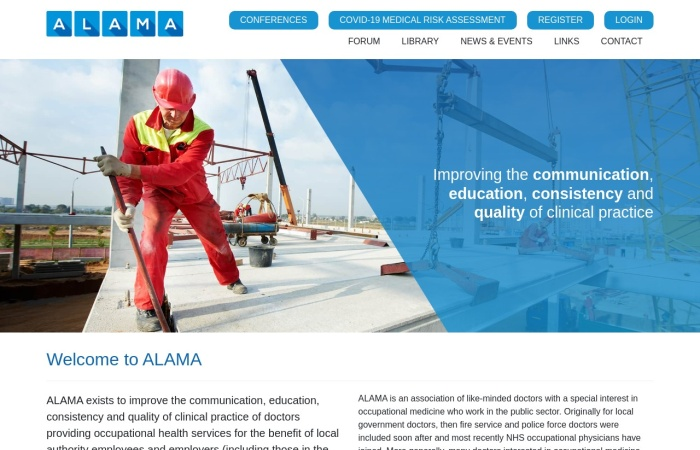Screenshot of www.alama.org.uk