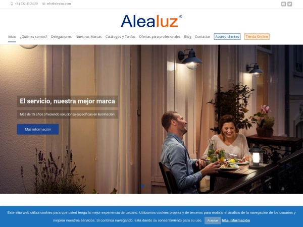 Captura de pantalla de www.alealuz.com