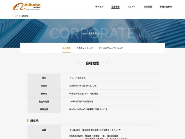 Screenshot of www.alibaba.co.jp