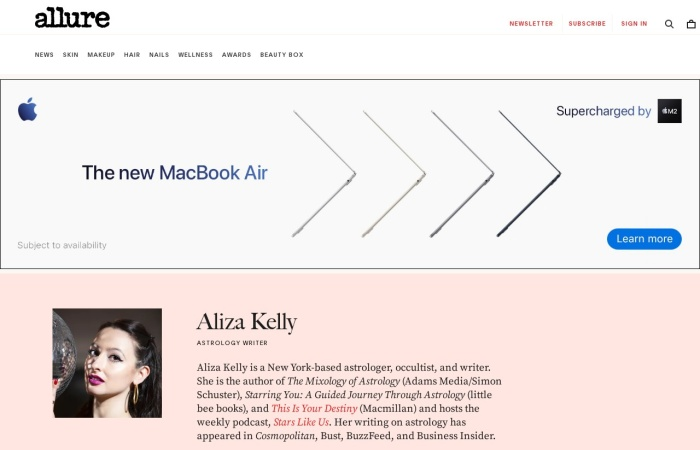 Screenshot of www.allure.com