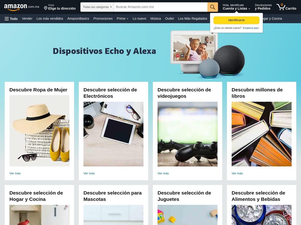 Captura de pantalla de www.amazon.com.mx
