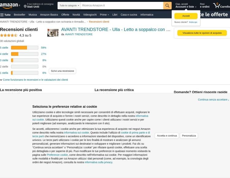Opinioni Avanti Trendstore - Amazon - Letto a castello con scrivania