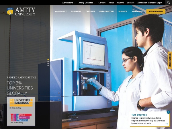 Screenshot of www.amity.edu
