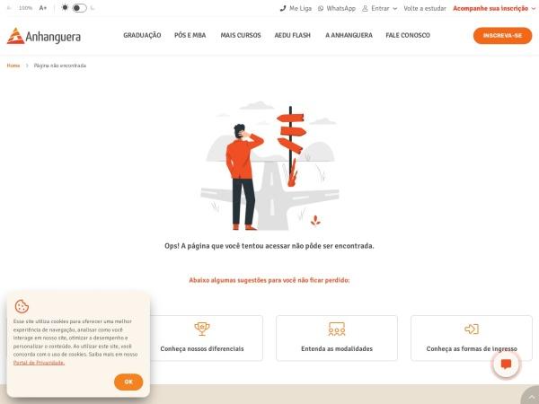 Screenshot of www.anhanguera.com