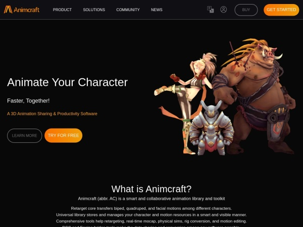 Screenshot of www.animcraft.com