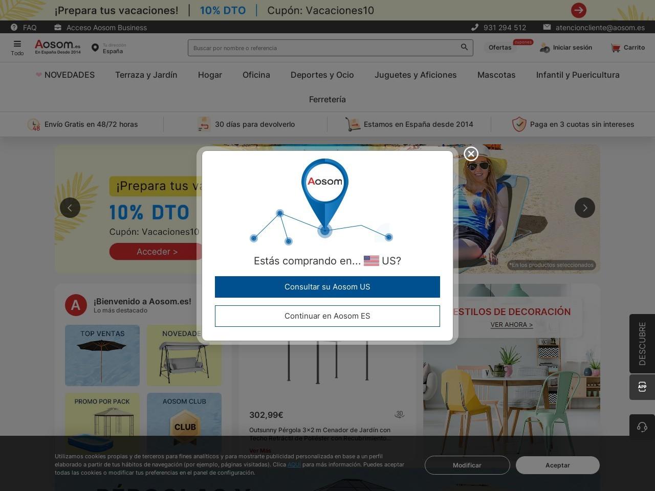 Captura de pantalla de www.aosom.es