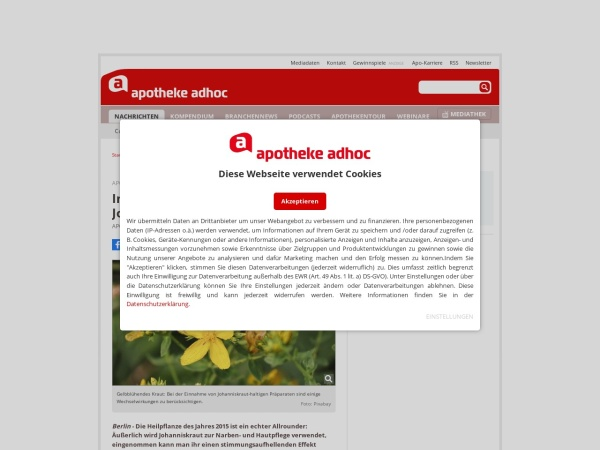 Screenshot von www.apotheke-adhoc.de