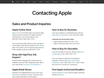 How to Contact Us - Apple
