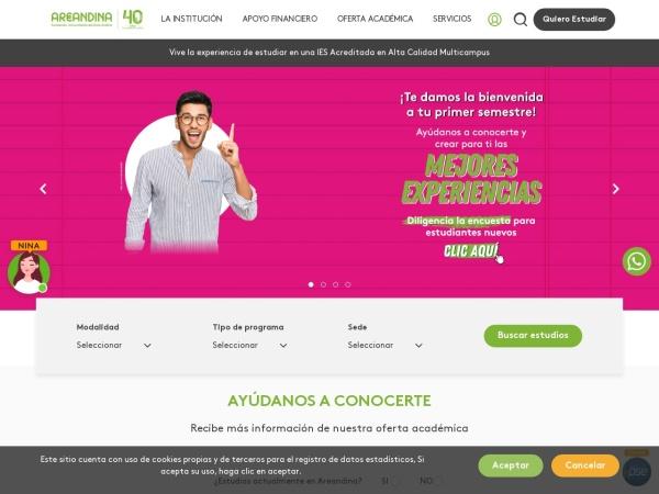 Screenshot of www.areandina.edu.co