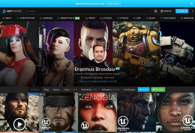 Screenshot of www.artstation.com
