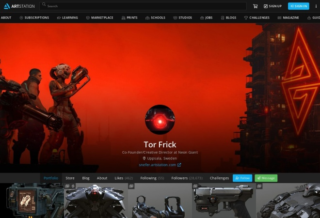 Screenshot of www.artstation.com
