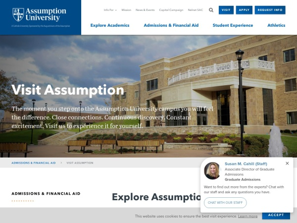 Screenshot of www.assumption.edu