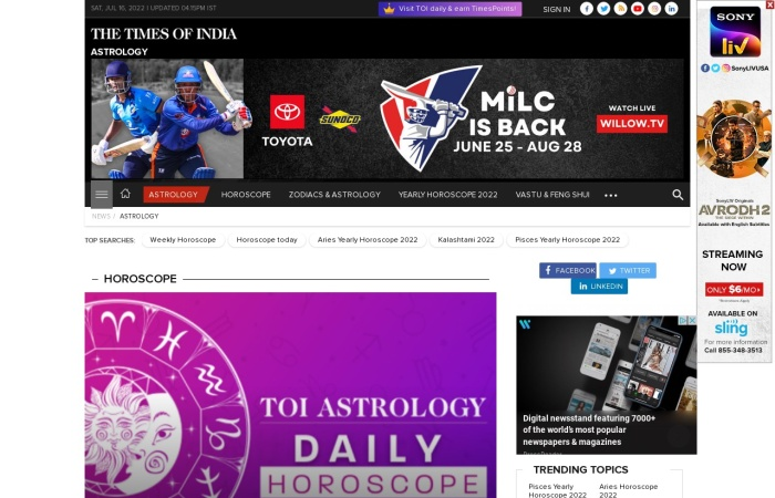 Screenshot of www.astrospeak.com