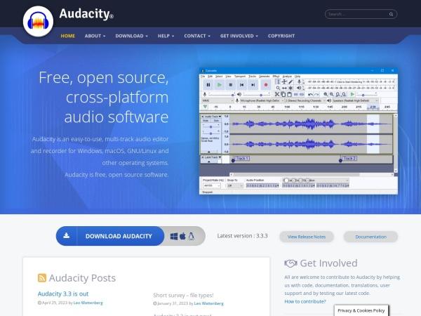 Screenshot von www.audacityteam.org