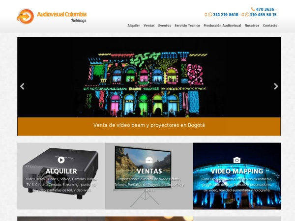 Captura de pantalla de www.audiovisualcolombia.com