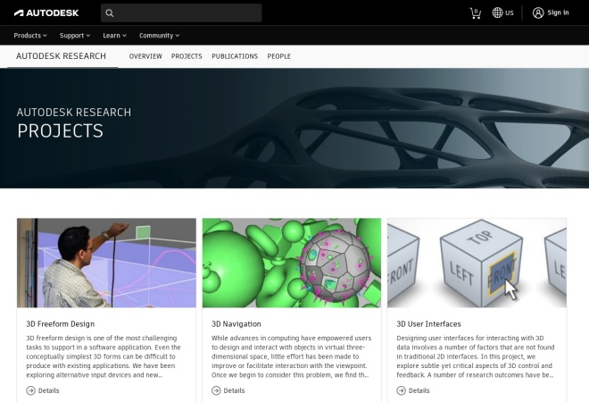 Screenshot of www.autodeskresearch.com