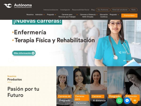 Screenshot of www.autonoma.pe