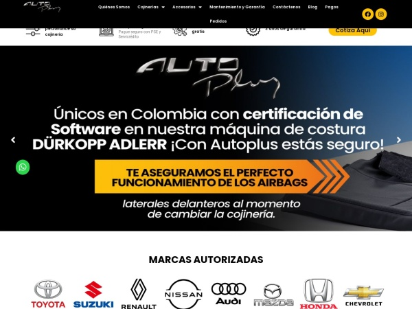 Captura de pantalla de www.autoplus.com.co