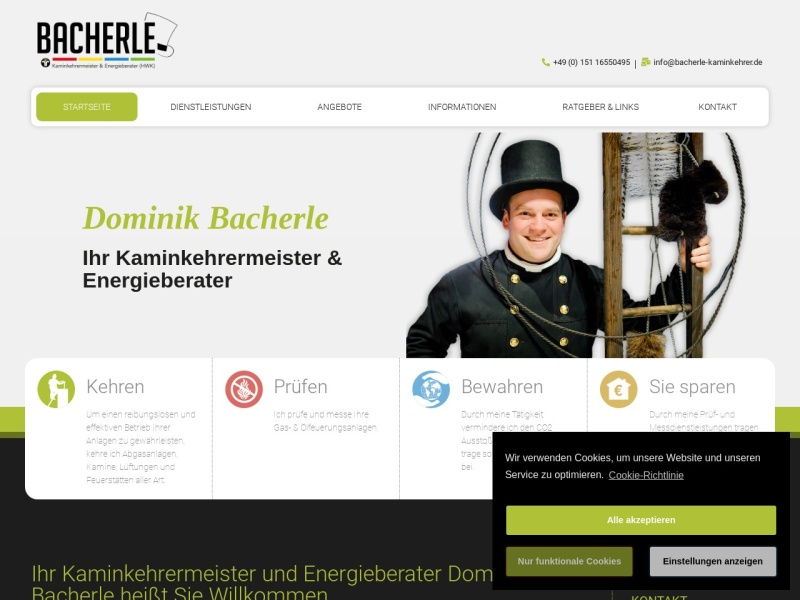 Screenshot von www.bacherle-kaminkehrer.de