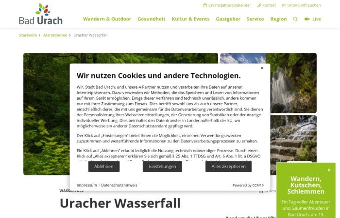 Screenshot von www.badurach-tourismus.de