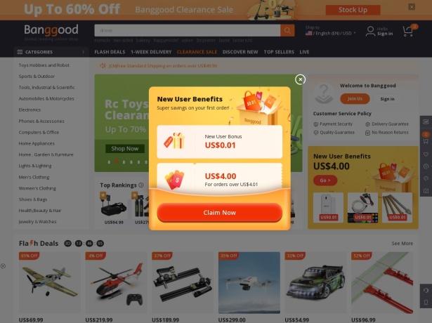 Screenshot of www.banggood.com