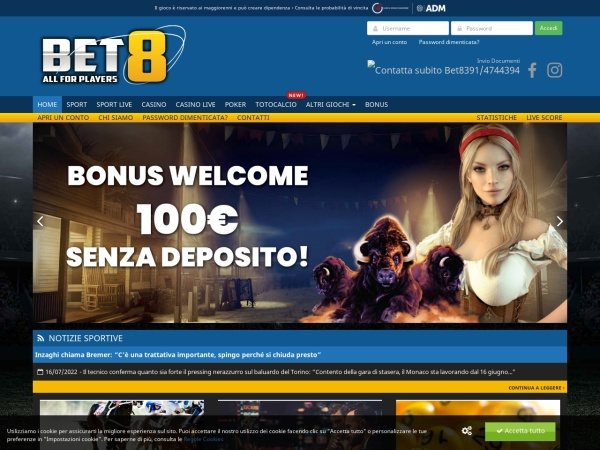 Screenshot of www.bet8.it