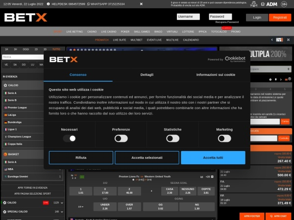Screenshot of www.betx.it
