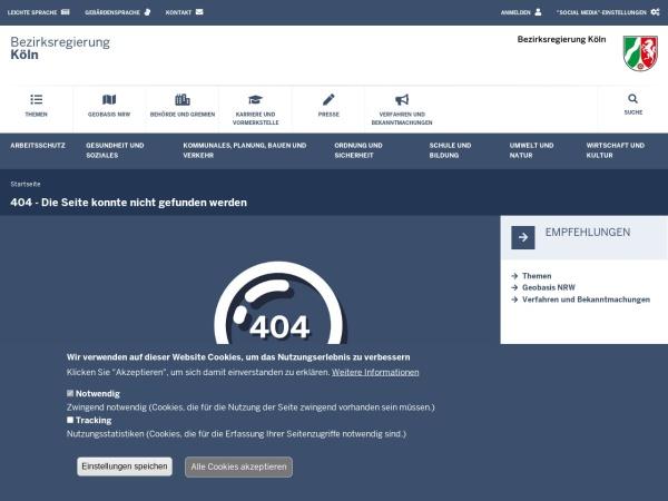 Screenshot von www.bezreg-koeln.nrw.de
