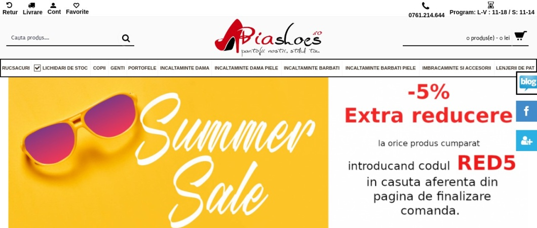 Screenshot of www.biashoes.ro