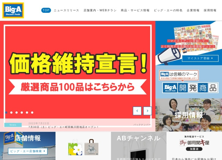 Screenshot of www.biga.co.jp