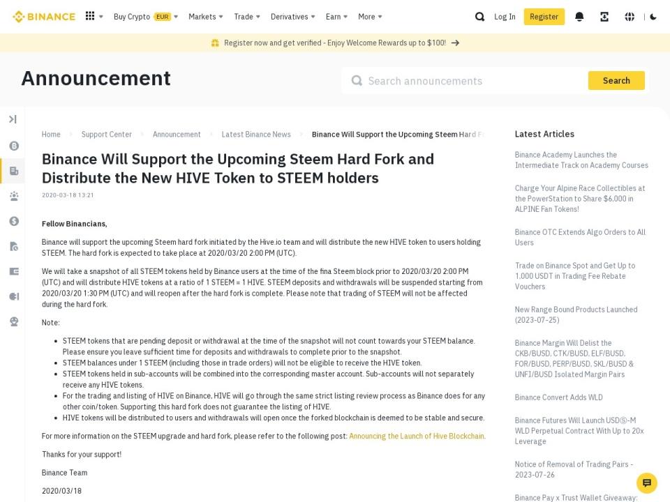 Screenshot of www.binance.com