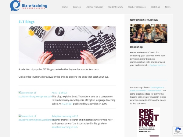 Screenshot of www.biz-e-training.com