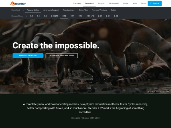 Screenshot of www.blender.org