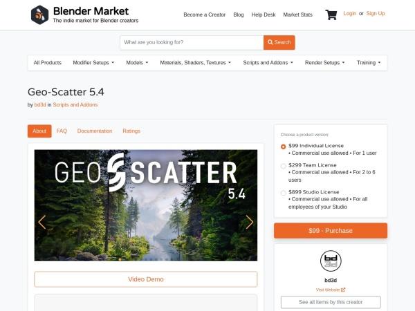 Screenshot of www.blendermarket.com