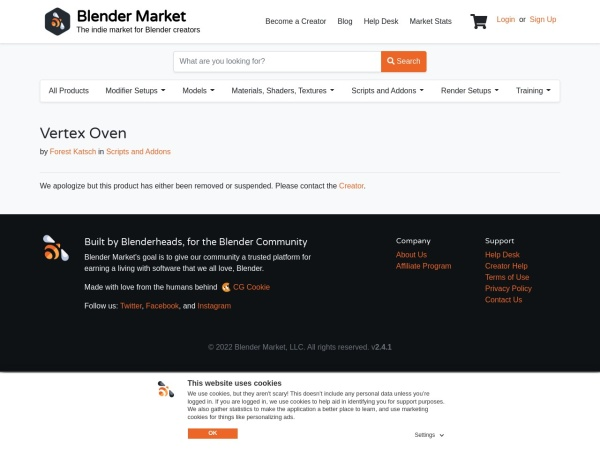 Screenshot of www.blendermarket.com