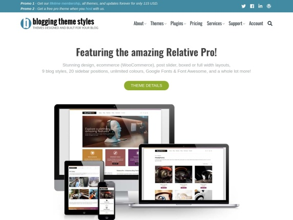 Blogging Theme Styles homepage