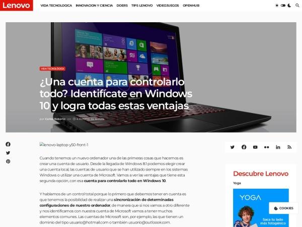 Captura de pantalla de www.bloglenovo.es
