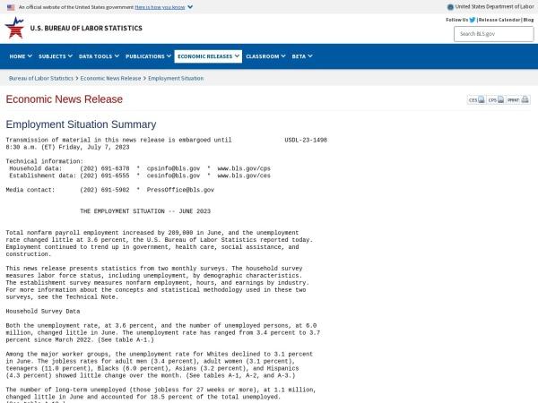 Screenshot of www.bls.gov
