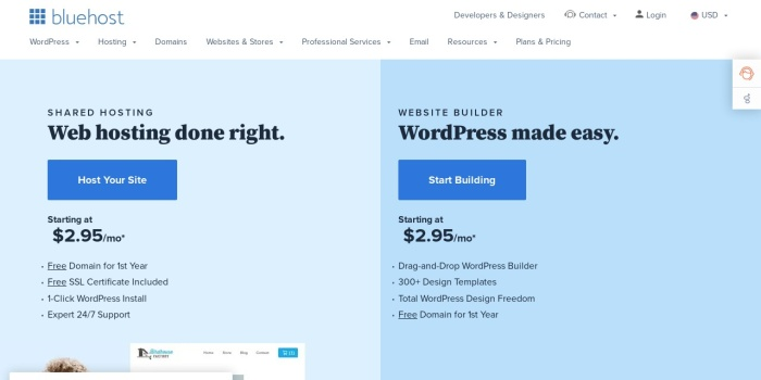 Screenshot of www.bluehost.com