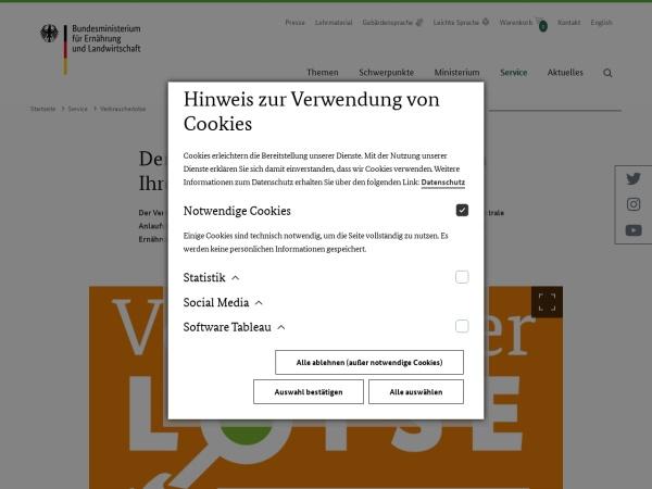 Screenshot von www.bmel.de