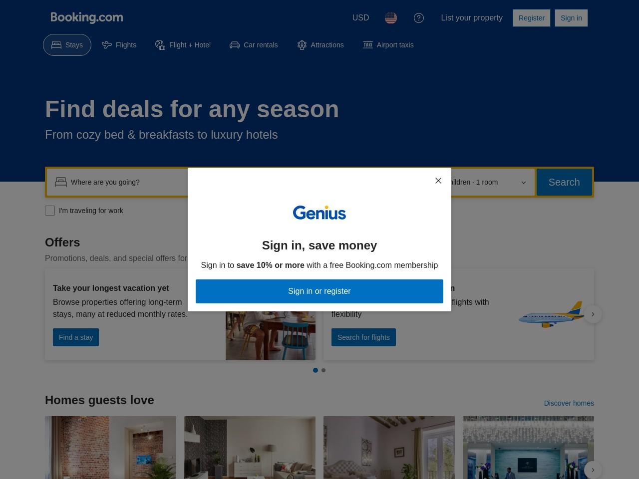 Screenshot of www.booking.com