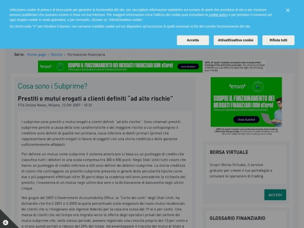 Screenshot of www.borsaitaliana.it