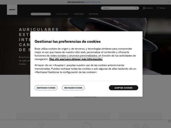 Captura de pantalla de www.bose.es