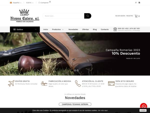 Captura de pantalla de www.botascalero.com