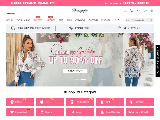Screenshot of www.boutiquefeel.com